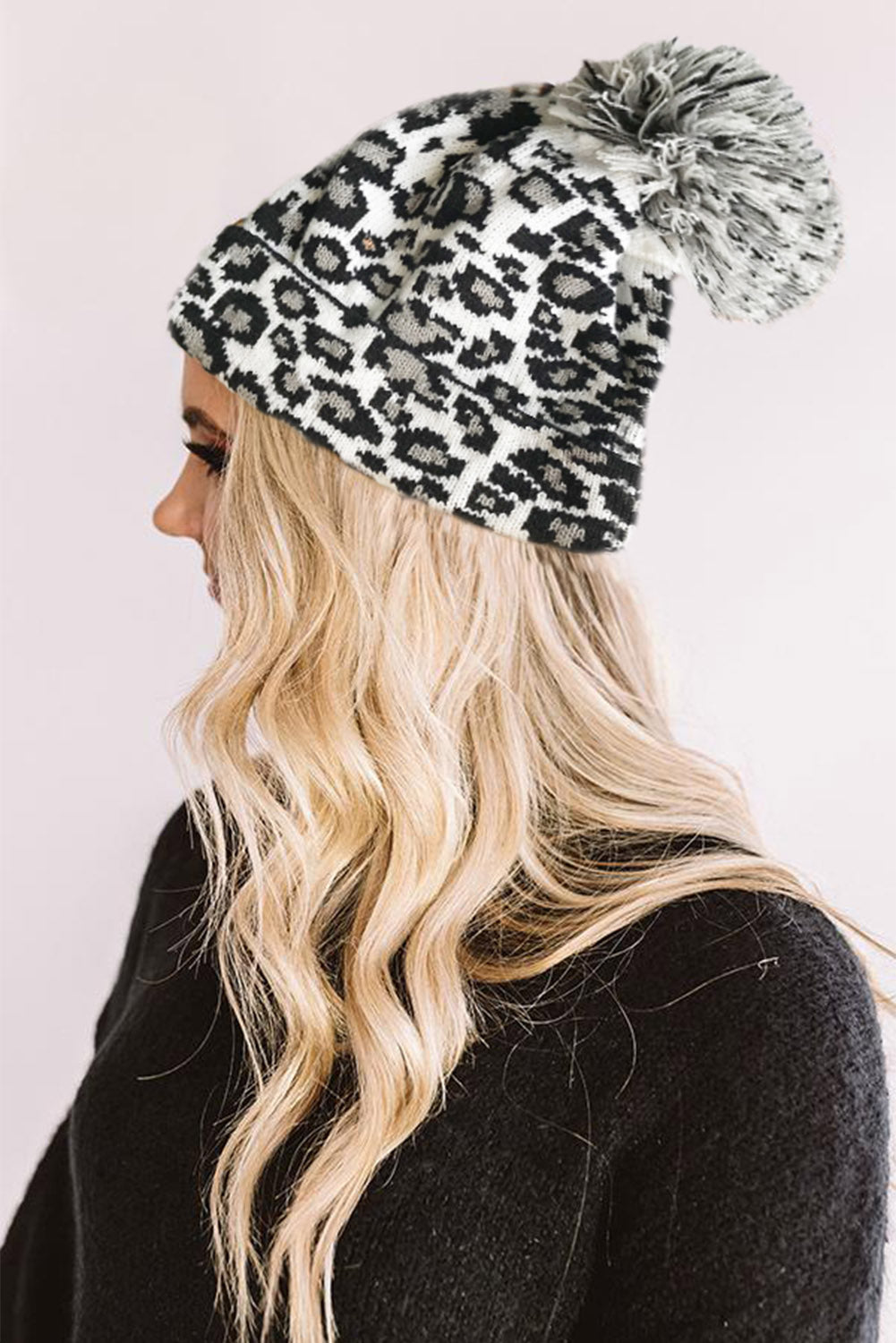 White Leopard Pom Beanie Hats & Caps Discount Designer Fashion Clothes Shoes Bags Women Men Kids Children Black Owned Business