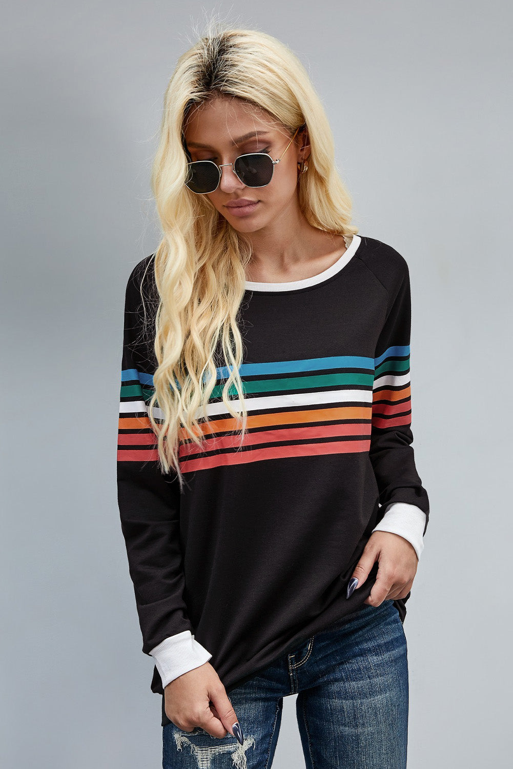 Rainbow Print Black Long Sleeve Top Long Sleeve Tops Discount Designer Fashion Clothes Shoes Bags Women Men Kids Children Black Owned Business
