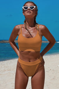 Orange Two-piece Knit Textured Crop Bikini Set Bikinis Discount Designer Fashion Clothes Shoes Bags Women Men Kids Children Black Owned Business