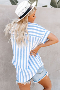 V Neck Stripes Roll up Sleeve Button Down Shirt Blouses & Shirts Discount Designer Fashion Clothes Shoes Bags Women Men Kids Children Black Owned Business