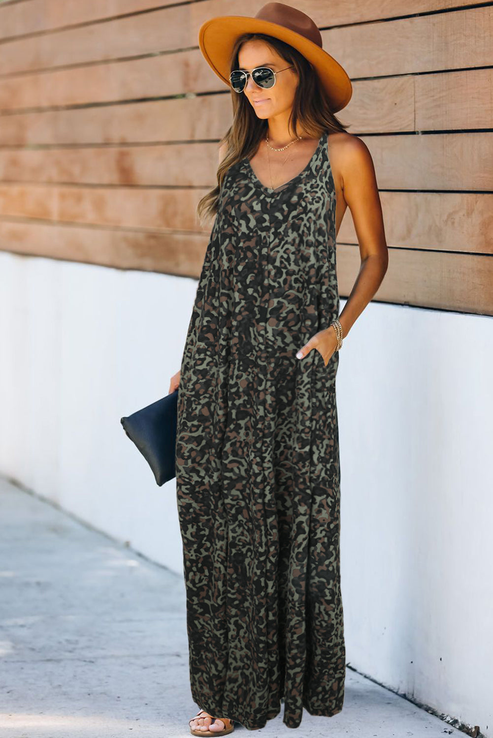 Green Leopard Sleeveless Cut-out Pocketed Maxi Dress Maxi Dresses Discount Designer Fashion Clothes Shoes Bags Women Men Kids Children Black Owned Business