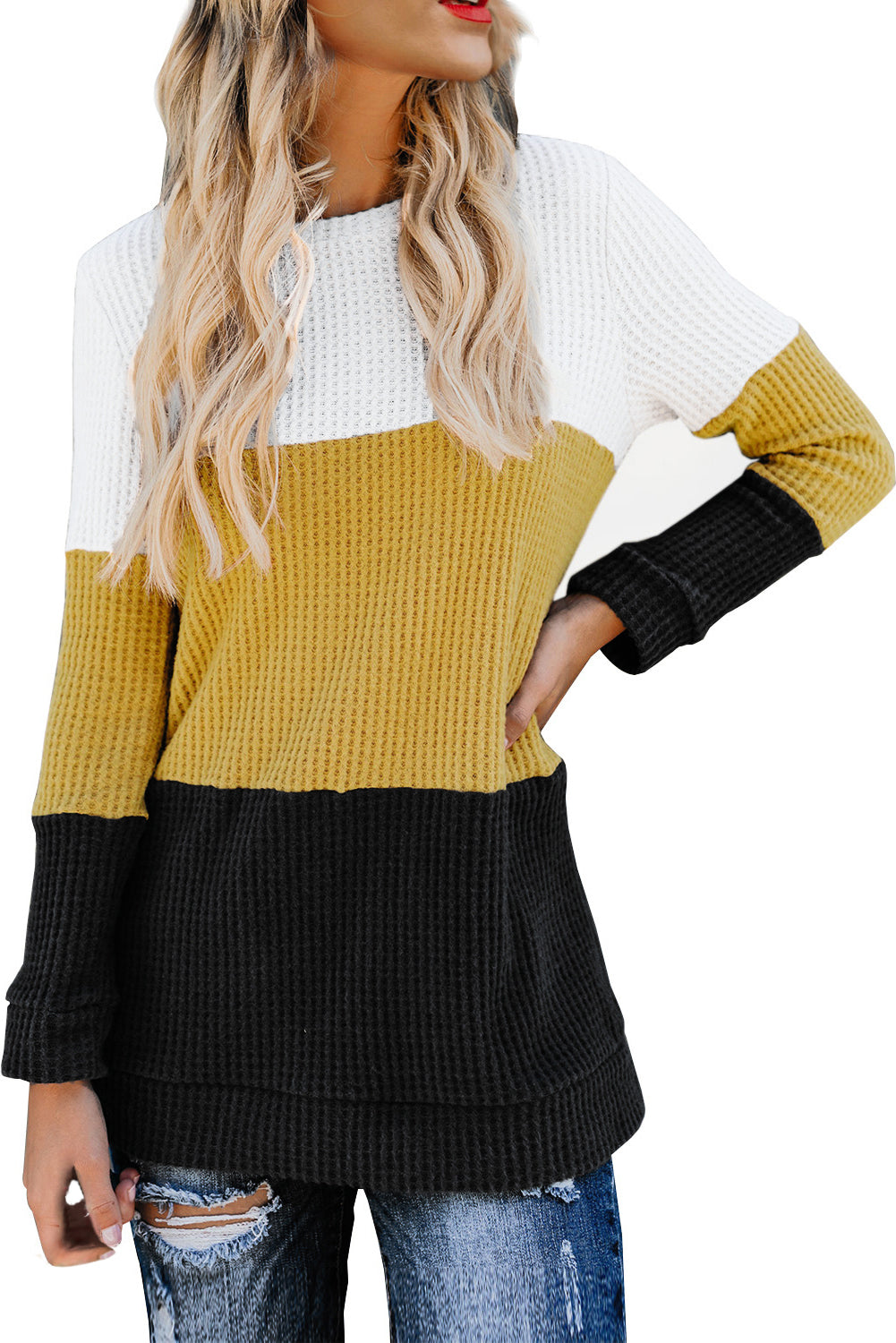 Yellow Miller Colorblock Cozy Thermal Top