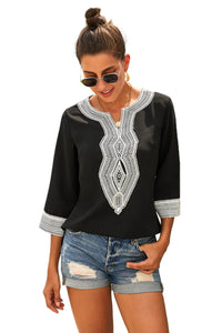 Black Summer Boho Embroidered V Neck Loose Blouse Blouses & Shirts Discount Designer Fashion Clothes Shoes Bags Women Men Kids Children Black Owned Business