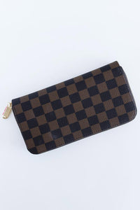Timeless Checkered Faux Leather Wallet Bags Discount Designer Fashion Clothes Shoes Bags Women Men Kids Children Black Owned Business