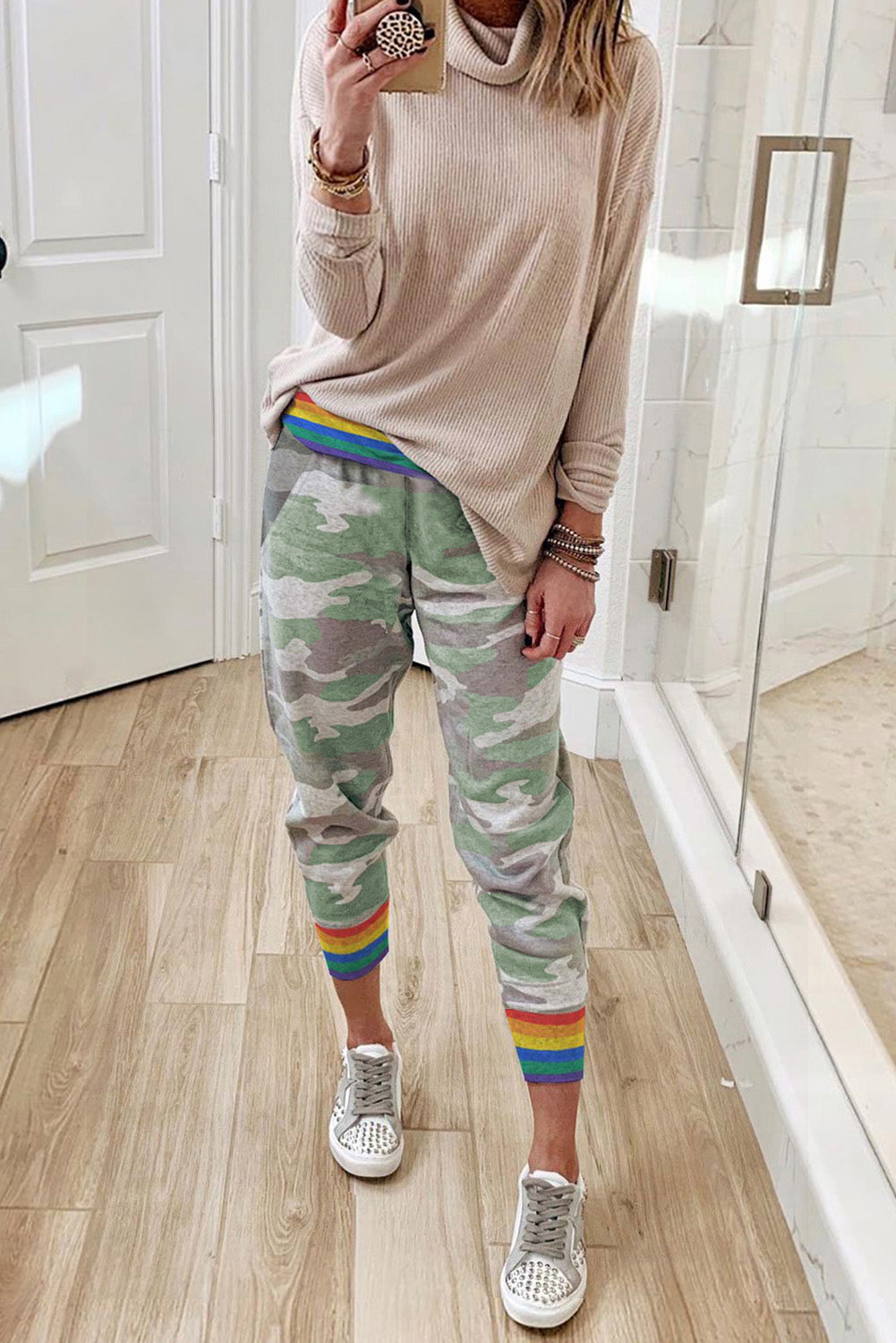 Rainbow Stripe Camo Casual Pants Pants & Culotte Discount Designer Fashion Clothes Shoes Bags Women Men Kids Children Black Owned Business
