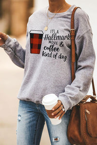 Coffee and Slogan Print Pullover Sweatshirt Sweatshirts & Hoodies Discount Designer Fashion Clothes Shoes Bags Women Men Kids Children Black Owned Business