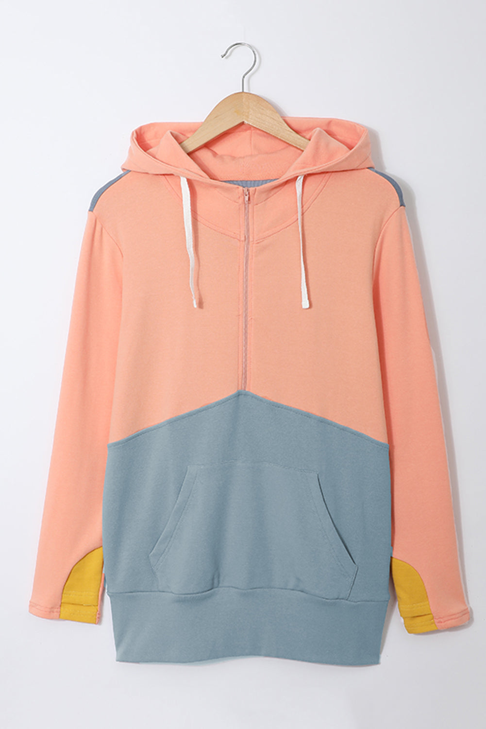Sky Blue Half Zip Colorblock Hoodie Sweatshirts & Hoodies Discount Designer Fashion Clothes Shoes Bags Women Men Kids Children Black Owned Business