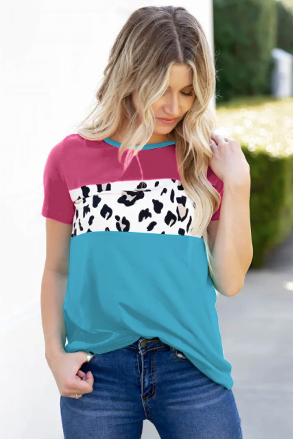 Rose Color Block T-shirt Tops & Tees Discount Designer Fashion Clothes Shoes Bags Women Men Kids Children Black Owned Business