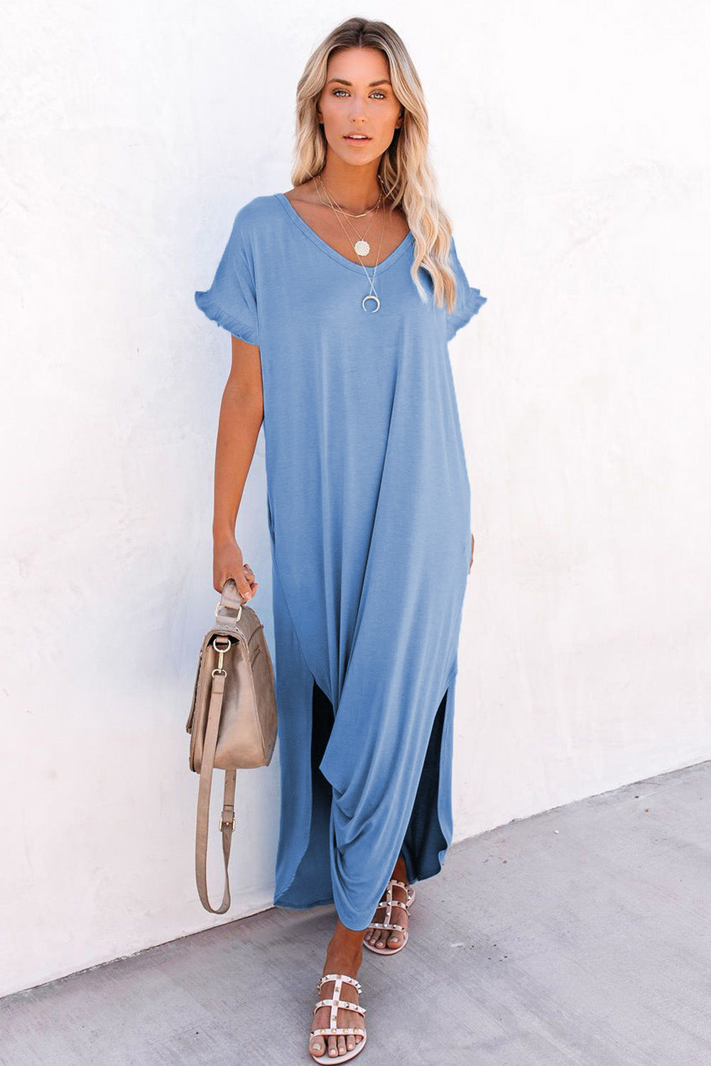 Sky Blue Loose Fit Cotton Blend V Neck Maxi Dress with Slits Maxi Dresses Discount Designer Fashion Clothes Shoes Bags Women Men Kids Children Black Owned Business