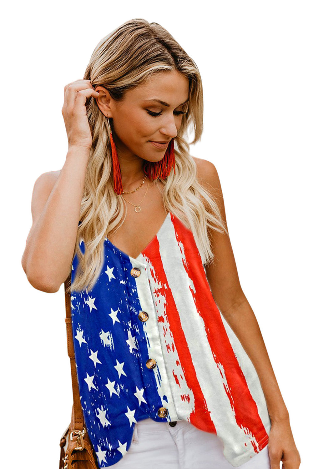 Stars and Stripes Flag Print Button Down Tank Top