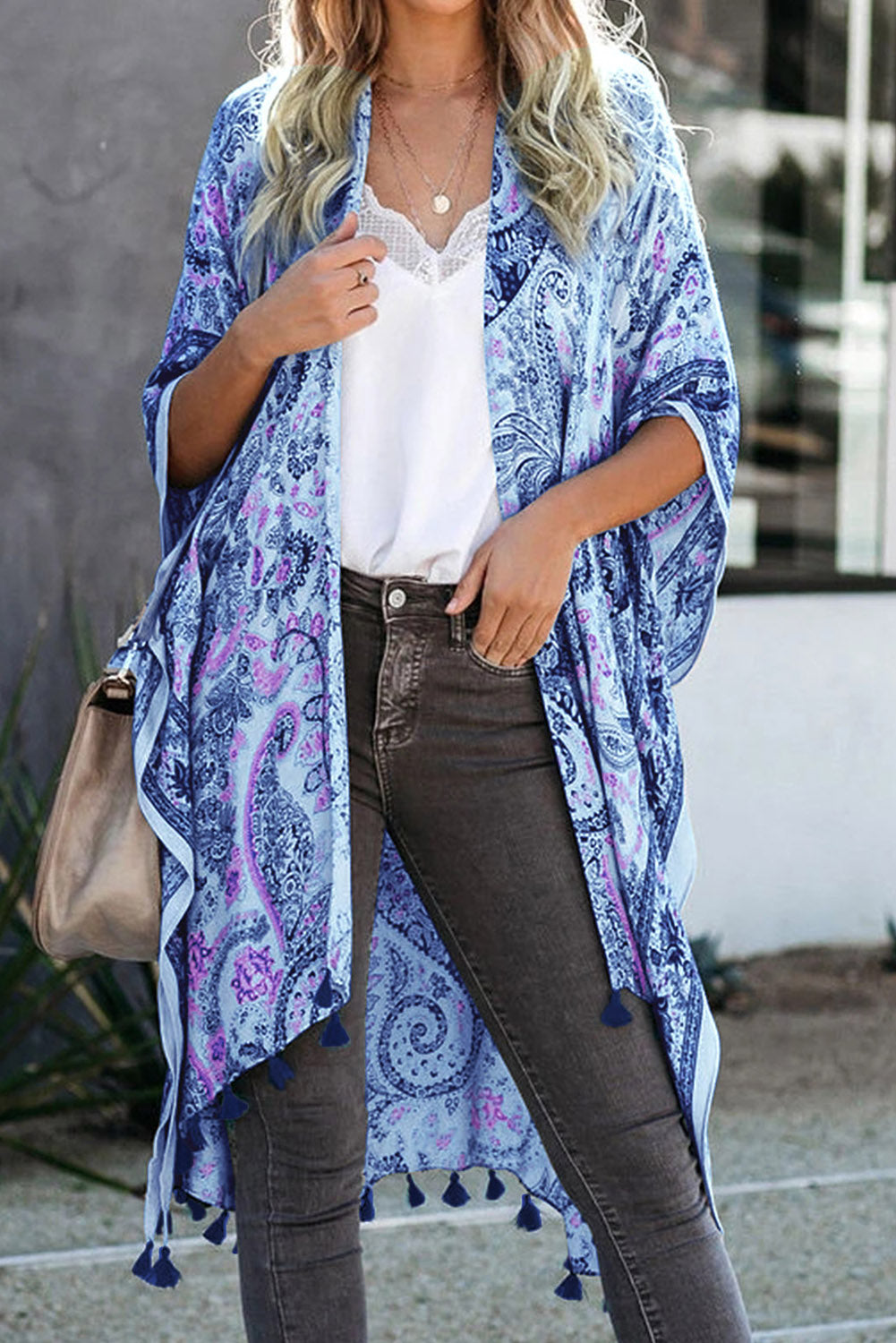Sky Blue Boho Paisley Print Kimono Beach Cover up with Tassel Beach Dresses Discount Designer Fashion Clothes Shoes Bags Women Men Kids Children Black Owned Business