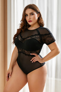Black Plus Size Lace Stitching Short Sleeve Bodysuit Plus Size Lingerie Discount Designer Fashion Clothes Shoes Bags Women Men Kids Children Black Owned Business