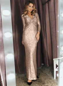 Apricot Long Sleeve V Neck Twist Ruched Sequin Party Maxi Dress Evening Dresses Discount Designer Fashion Clothes Shoes Bags Women Men Kids Children Black Owned Business