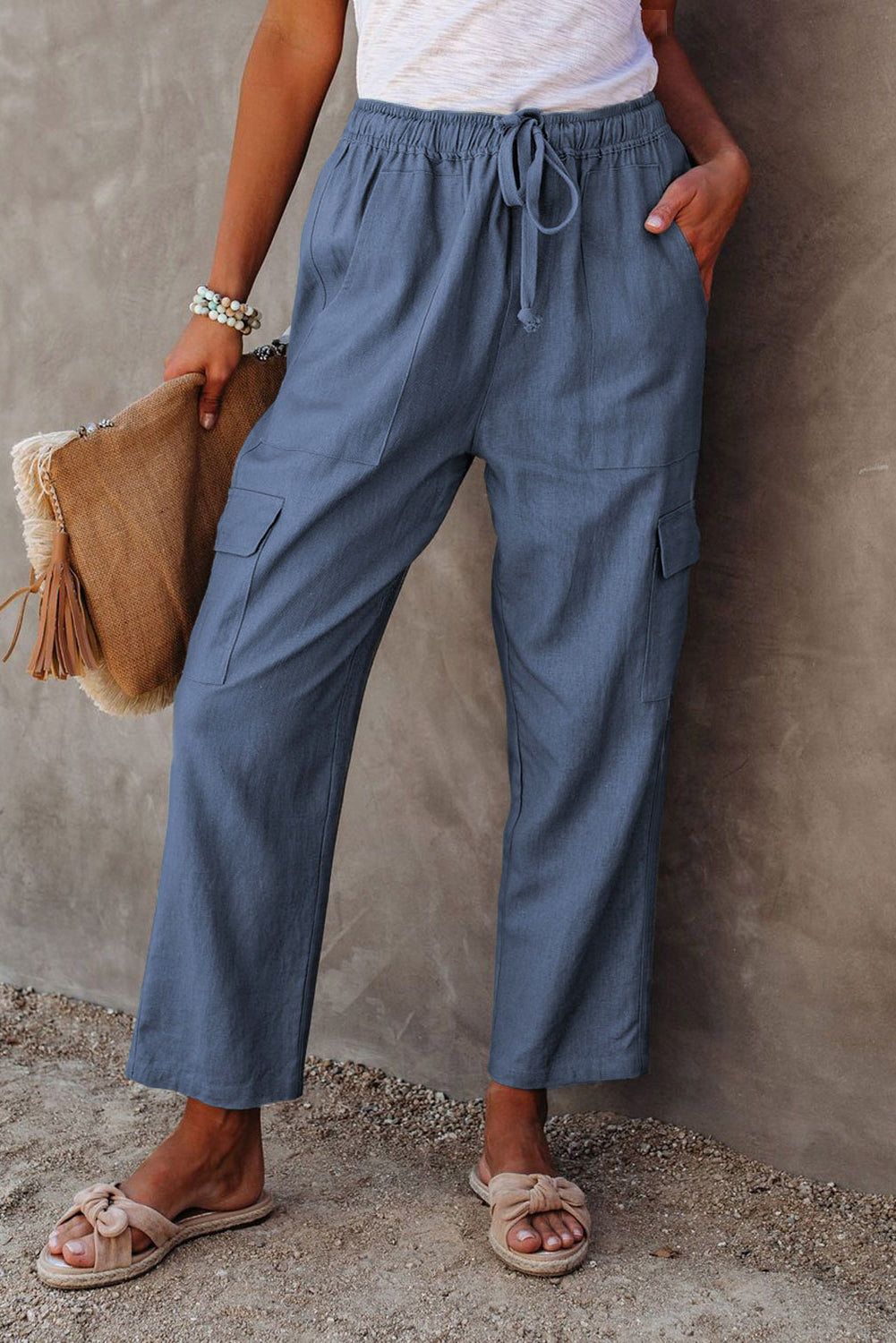 Blue Driven Linen Blend Pocketed Cargo Pants Pants & Culotte Discount Designer Fashion Clothes Shoes Bags Women Men Kids Children Black Owned Business