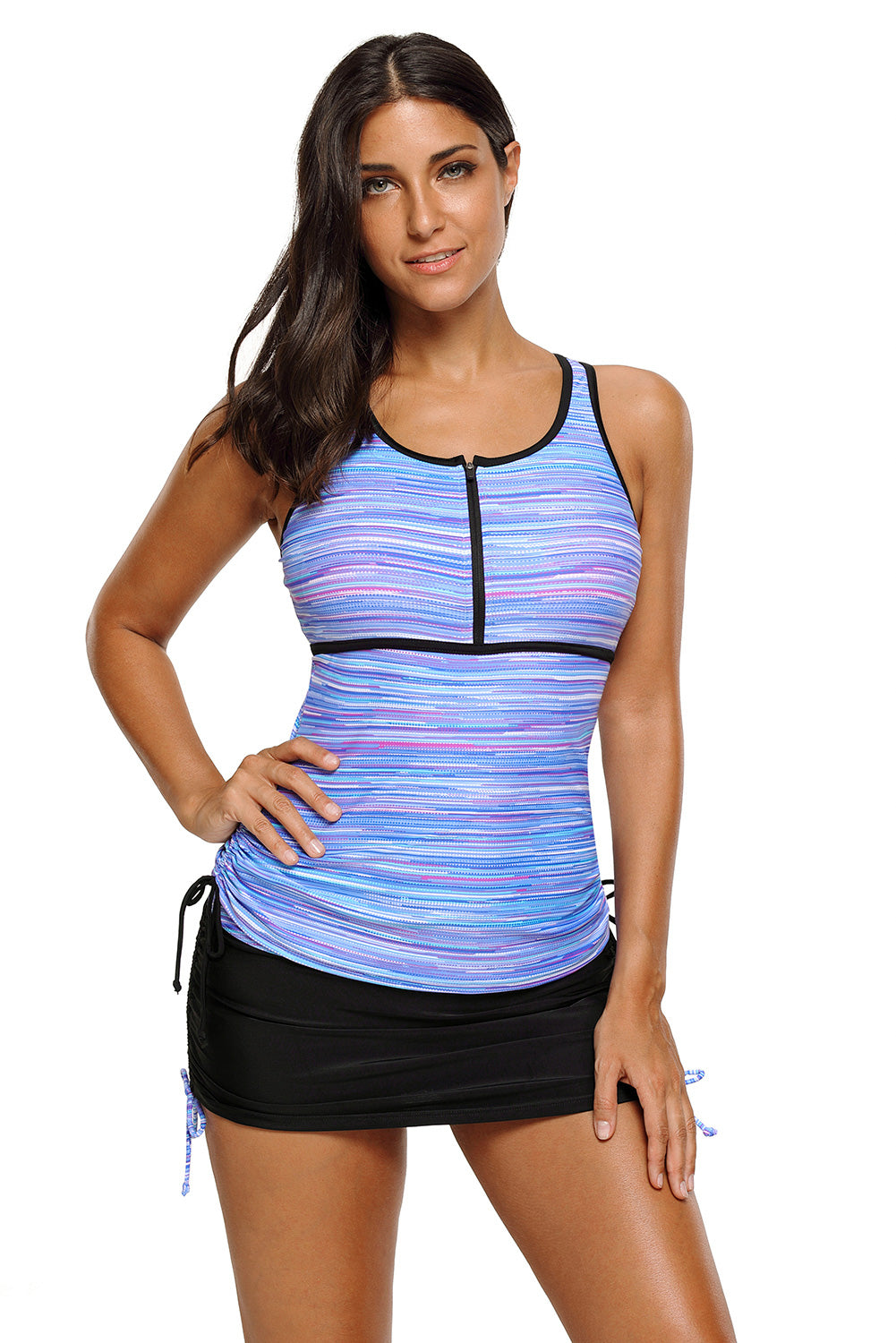 Purplish Filtered Stripe Mesh Racherback Tankini Swimsuit Tankinis Discount Designer Fashion Clothes Shoes Bags Women Men Kids Children Black Owned Business