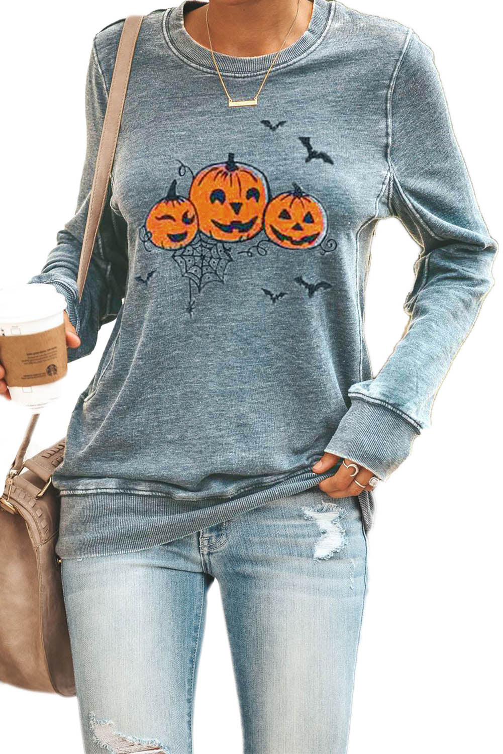 Gray Round Neck Pumpkin Print Halloween Pullover Sweatshirt Sweatshirts & Hoodies Discount Designer Fashion Clothes Shoes Bags Women Men Kids Children Black Owned Business
