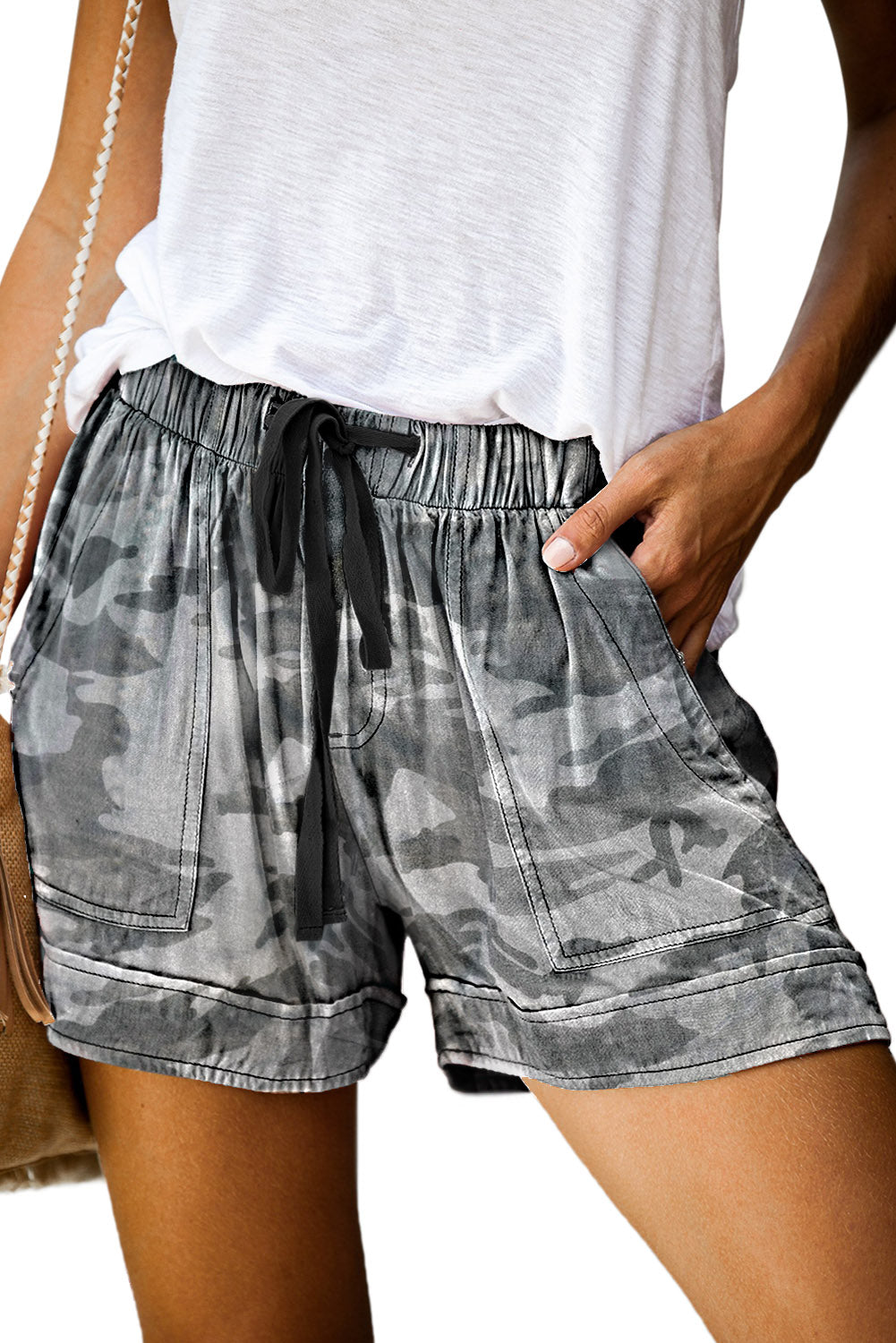 Camouflague Print Drawstring Casual Elastic Waist Pocketed Shorts Pants & Culotte Discount Designer Fashion Clothes Shoes Bags Women Men Kids Children Black Owned Business