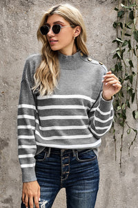 Gray Striped Turtleneck Sweater with Buttons Sweaters & Cardigans Discount Designer Fashion Clothes Shoes Bags Women Men Kids Children Black Owned Business