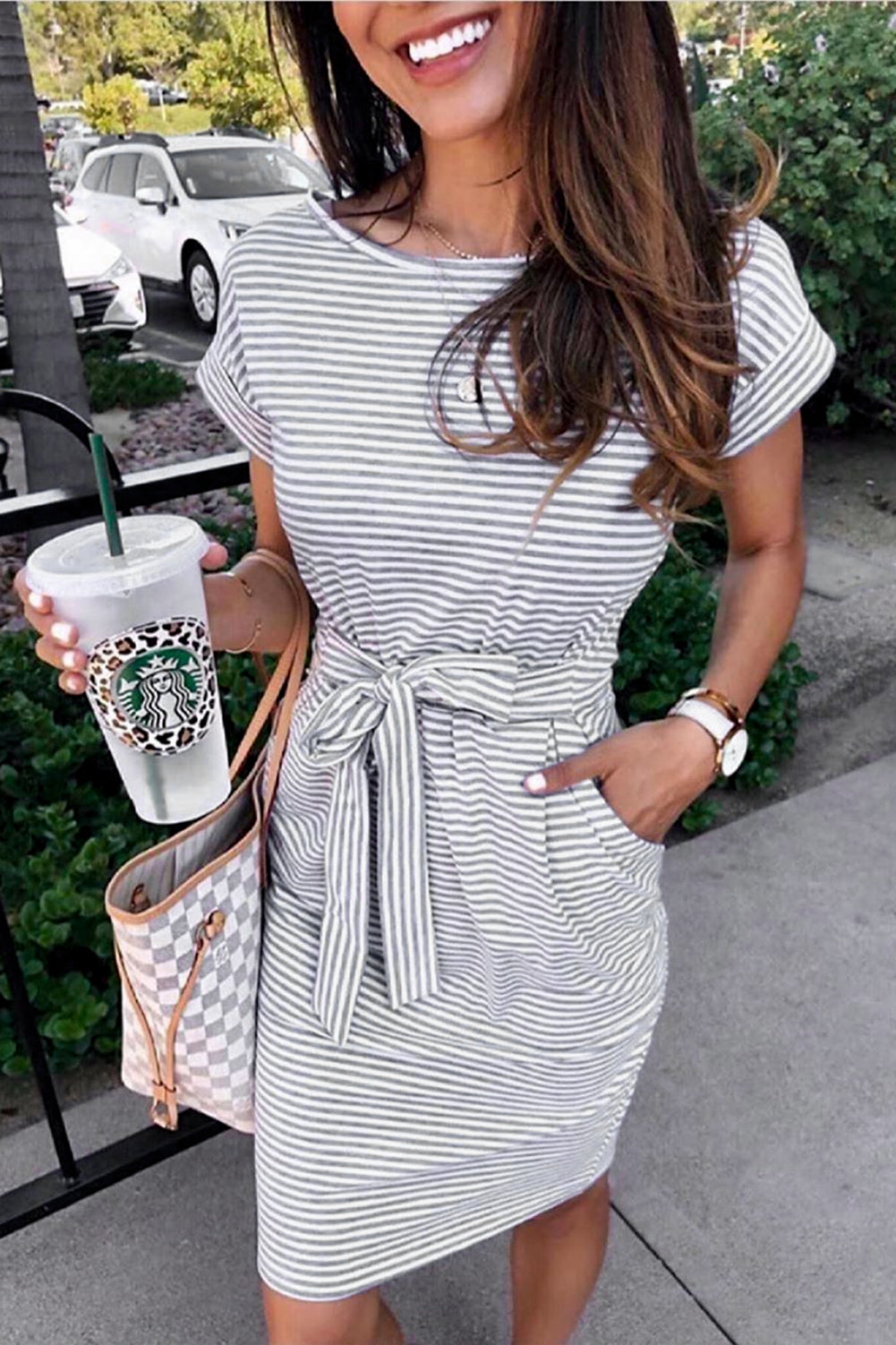 Stripes Pocketed T-shirt Dress with Belt Mini Dresses Discount Designer Fashion Clothes Shoes Bags Women Men Kids Children Black Owned Business