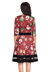 Jolly Christmas Cartoon Print Wine A-line Dress Skater Dresses Discount Designer Fashion Clothes Shoes Bags Women Men Kids Children Black Owned Business