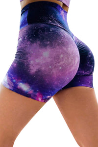 Purple Galaxy Print Booty Yoga Shorts Yoga Pants Discount Designer Fashion Clothes Shoes Bags Women Men Kids Children Black Owned Business
