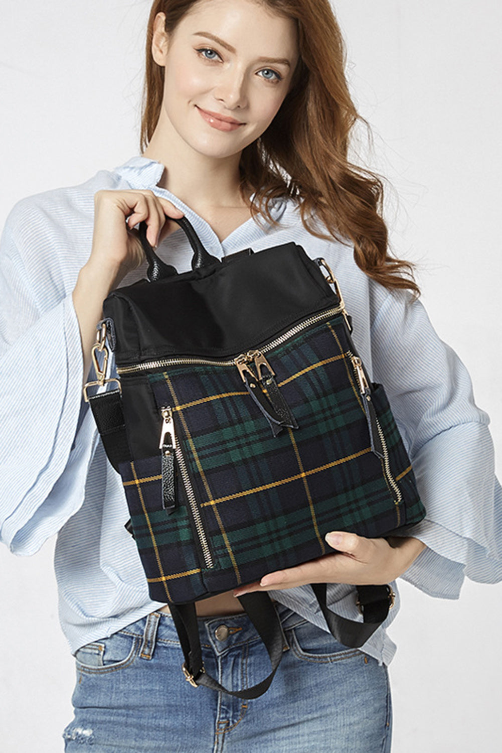 Green Plaid Backpack Handbag Bags Discount Designer Fashion Clothes Shoes Bags Women Men Kids Children Black Owned Business