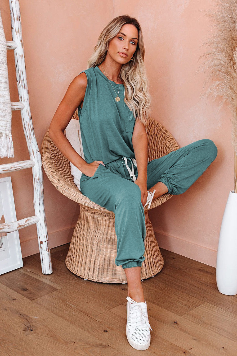 Green AM To PM Knit Pocket Tank and Joggers Sports Wear Sports Wear Discount Designer Fashion Clothes Shoes Bags Women Men Kids Children Black Owned Business