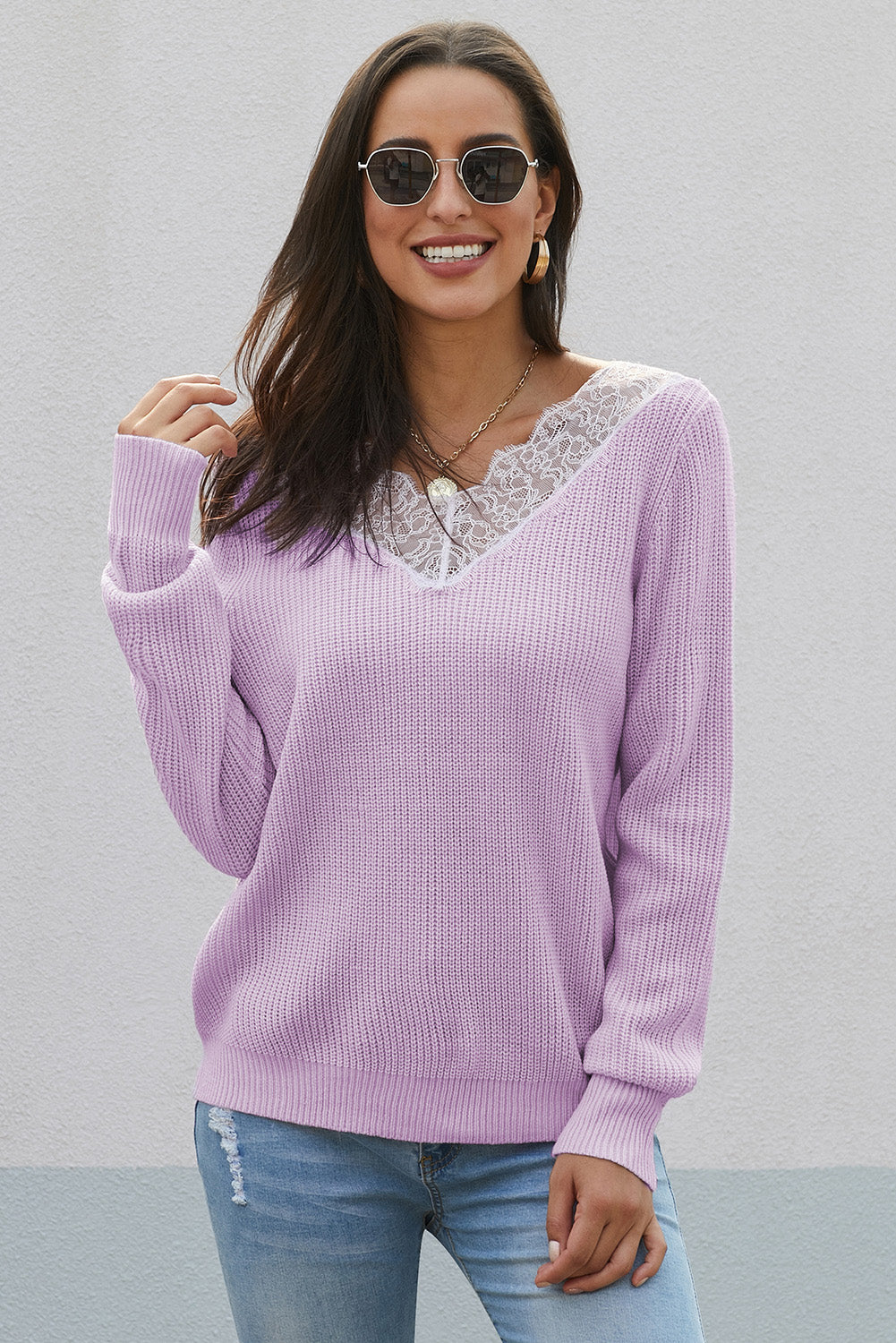 Purple Lace Collar V Neck Ribbed Sweater Sweaters & Cardigans Discount Designer Fashion Clothes Shoes Bags Women Men Kids Children Black Owned Business