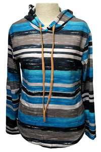 Blue Striped Drawstring Hoodie Sweatshirts & Hoodies Discount Designer Fashion Clothes Shoes Bags Women Men Kids Children Black Owned Business
