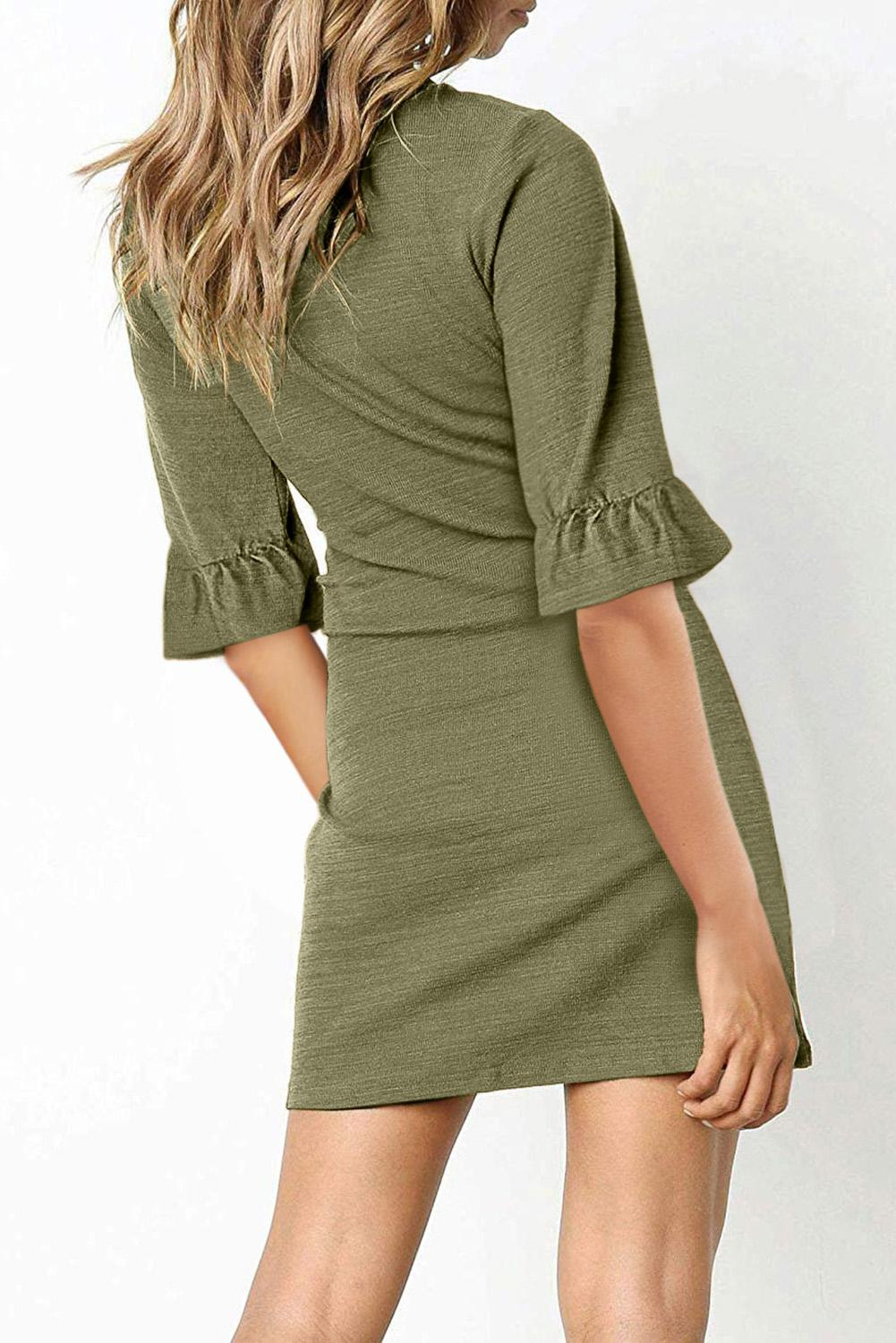 Green V Neck Ruffled Sleeves Waist Tie Mini Dress Mini Dresses Discount Designer Fashion Clothes Shoes Bags Women Men Kids Children Black Owned Business
