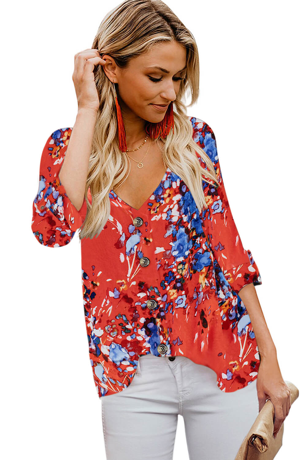 Orange V Neck Buttoned Floral Print Blouse Blouses & Shirts Discount Designer Fashion Clothes Shoes Bags Women Men Kids Children Black Owned Business