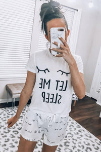 White Eyelash Slogan Tee and Drawstring Shorts Lounge Set - JT's Designer Fashion
