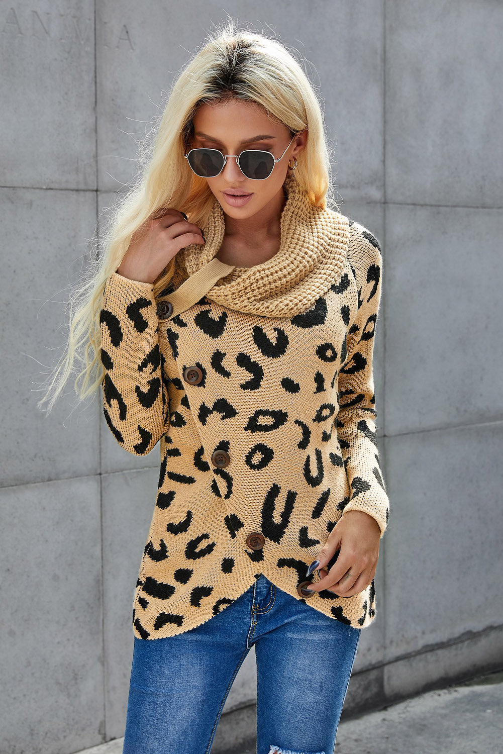Khaki Leopard Print Casual Knitted Sweater Sweaters & Cardigans Discount Designer Fashion Clothes Shoes Bags Women Men Kids Children Black Owned Business