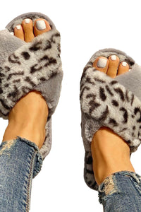 Gray Fluffy Leopard Crisscross Peep Toe Slippers Slippers Discount Designer Fashion Clothes Shoes Bags Women Men Kids Children Black Owned Business