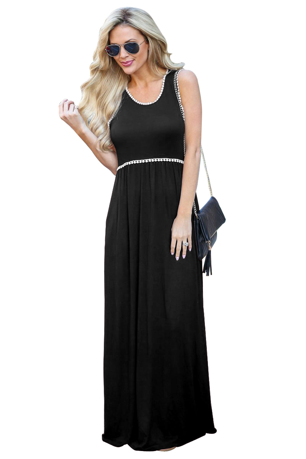 Crochet Pompom Trim Black Sleeveless Maxi Dress Maxi Dresses Discount Designer Fashion Clothes Shoes Bags Women Men Kids Children Black Owned Business