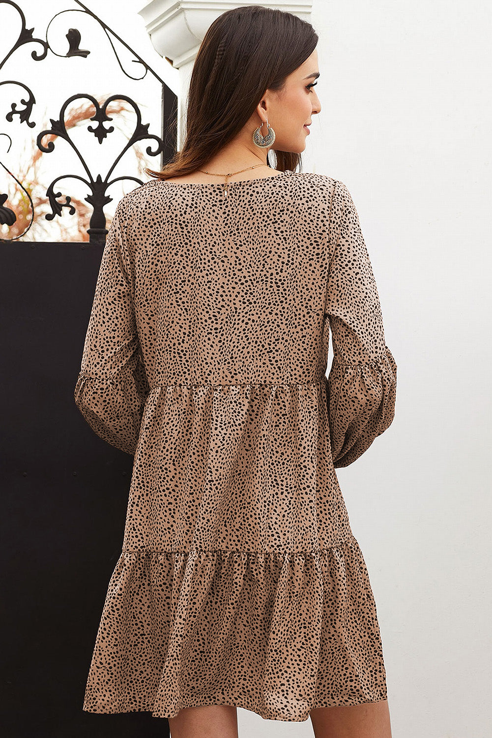 Brown Leopard Ruffle V-Neck Flowy Loose Tunic Dress Mini Dresses Discount Designer Fashion Clothes Shoes Bags Women Men Kids Children Black Owned Business