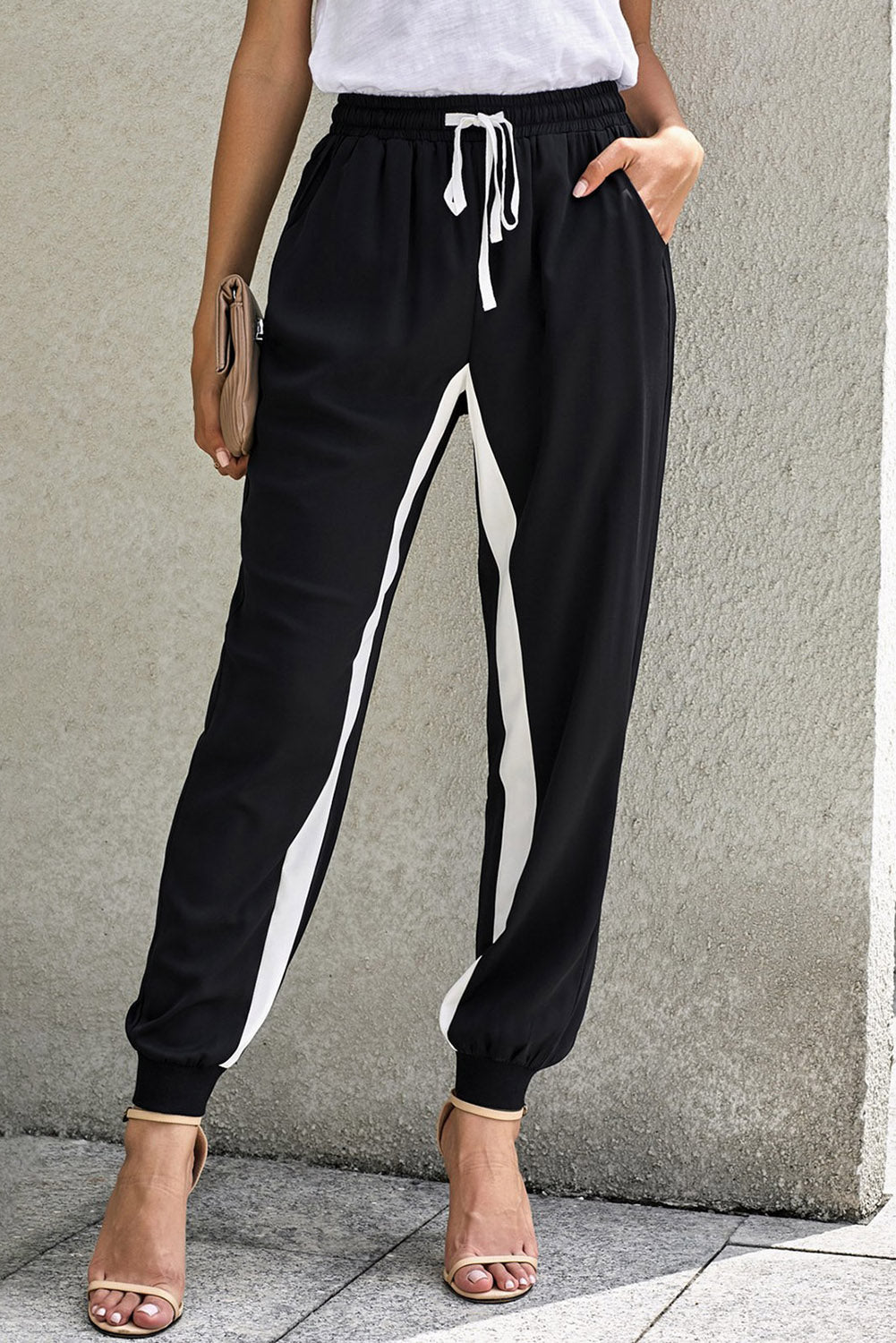 Black Casual Striped Drawstring Pants Pants & Culotte Discount Designer Fashion Clothes Shoes Bags Women Men Kids Children Black Owned Business