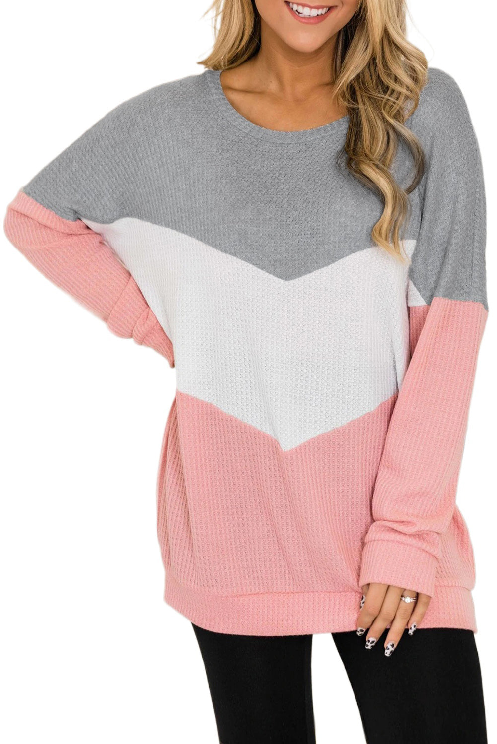 Pink Chevron Waffle Colorblock Pullover Sweatshirt Sweatshirts & Hoodies Discount Designer Fashion Clothes Shoes Bags Women Men Kids Children Black Owned Business