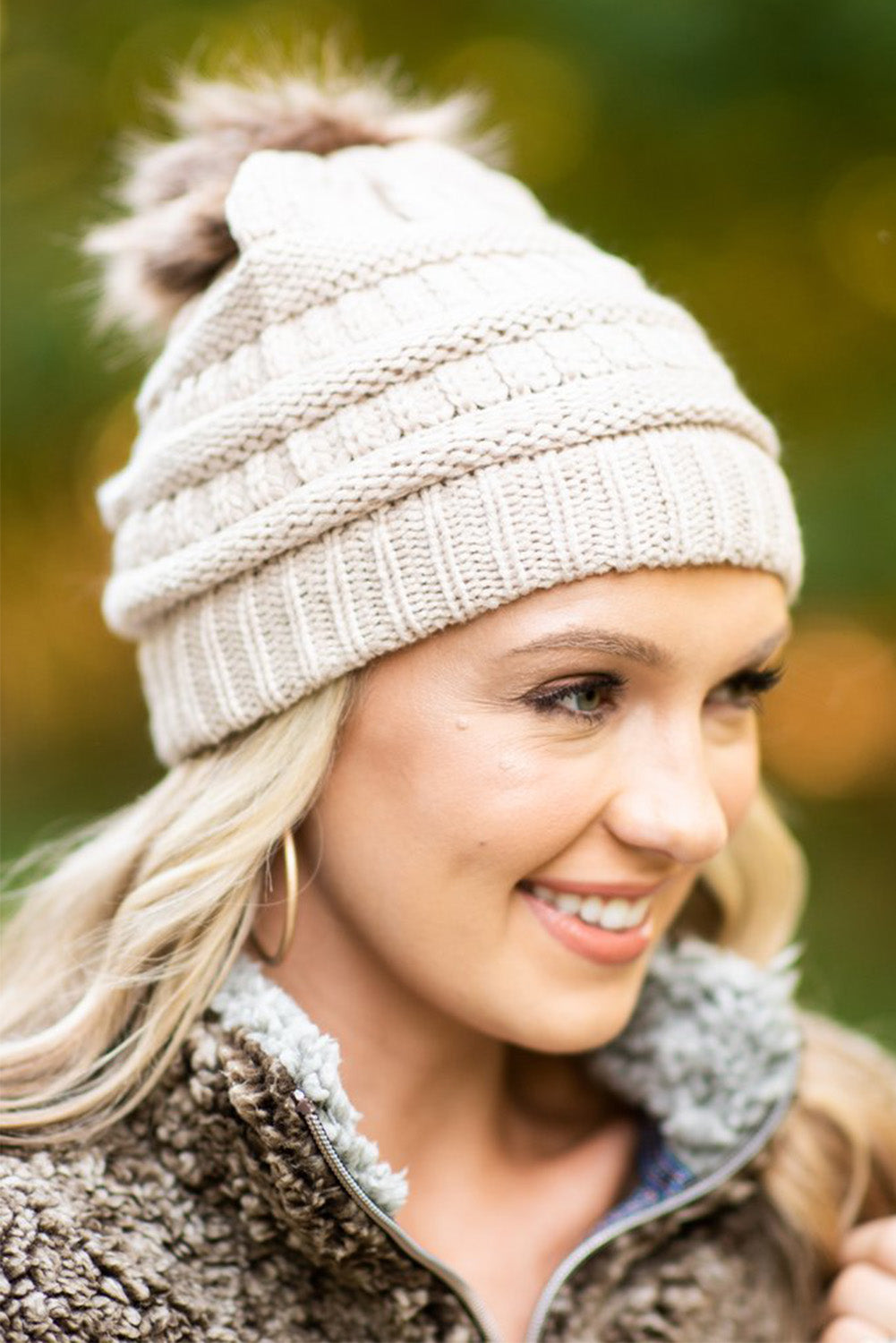 Apricot Outdoor Cable Knit Beanie with Pompom Hats & Caps Discount Designer Fashion Clothes Shoes Bags Women Men Kids Children Black Owned Business