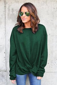 Green Knot Twist Front Long Sleeve Casual Pullover Sweatshirt Sweatshirts & Hoodies Discount Designer Fashion Clothes Shoes Bags Women Men Kids Children Black Owned Business