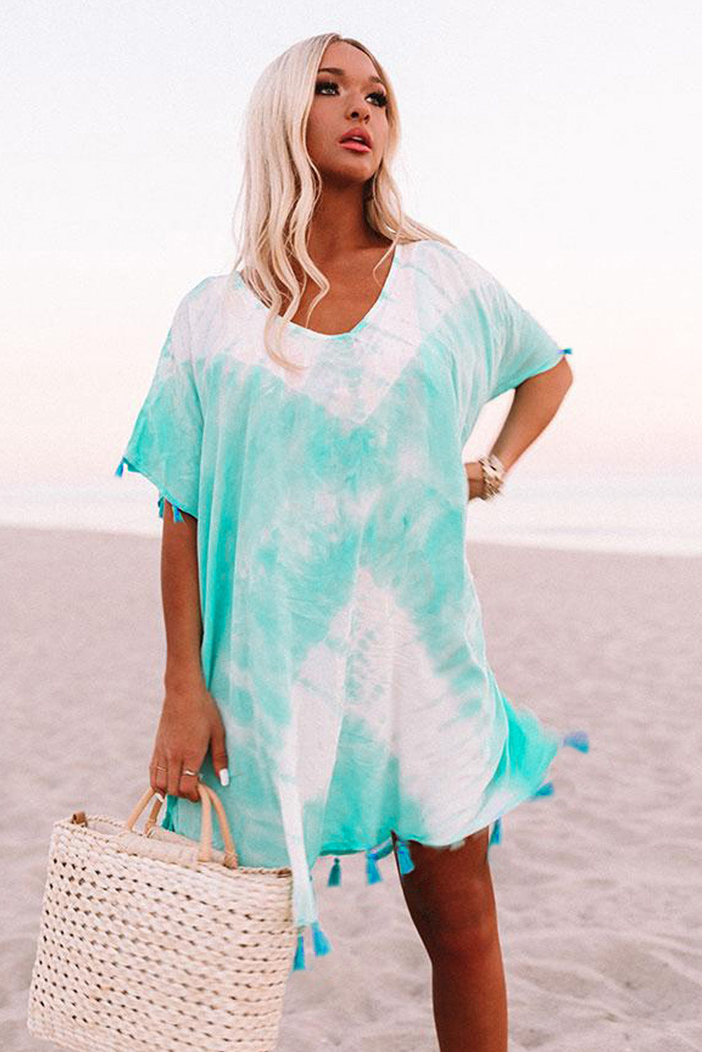 Aqua Seaside Starlet Tie-dye Tunic Beach Cover-ups Discount Designer Fashion Clothes Shoes Bags Women Men Kids Children Black Owned Business