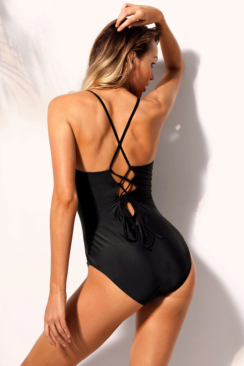 Black Strappy Crisscross Detail One Piece Swimsuit One-Piece Swimwear Discount Designer Fashion Clothes Shoes Bags Women Men Kids Children Black Owned Business