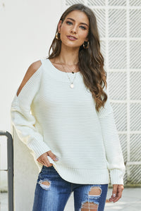 White Cold Shoulder Pullover Sweater