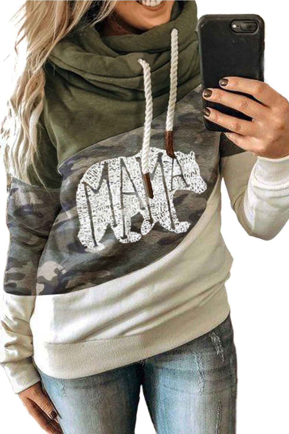 Green MAMA Camo Print Accent Colorblock Splicing Hoodie Sweatshirts & Hoodies Discount Designer Fashion Clothes Shoes Bags Women Men Kids Children Black Owned Business