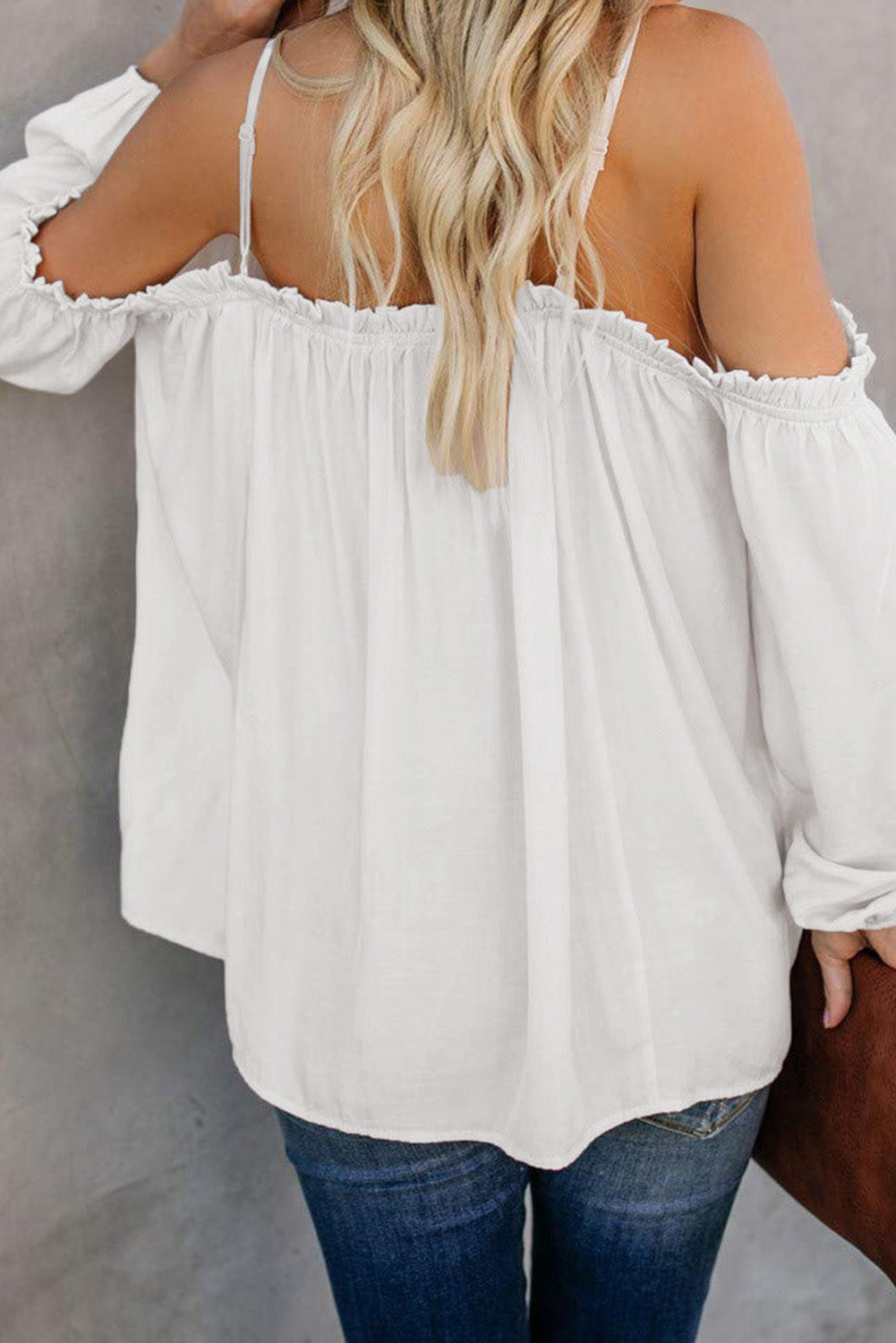 White Casual Off-Shoulder Ruffled Long Sleeve Pure Colour Top Long Sleeve Tops Discount Designer Fashion Clothes Shoes Bags Women Men Kids Children Black Owned Business