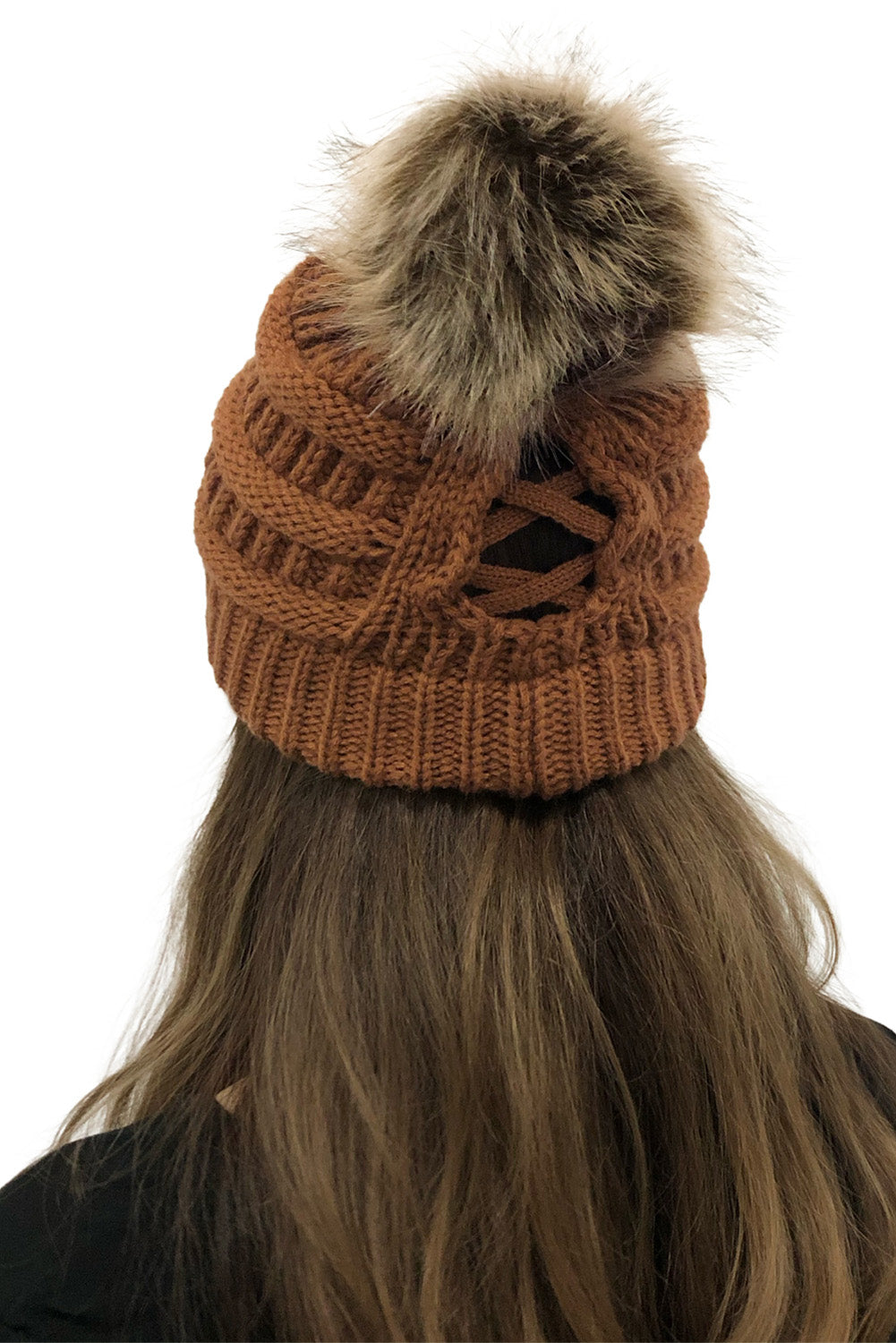 Brown Outdoor Cable Knit Beanie with Pompom Hats & Caps Discount Designer Fashion Clothes Shoes Bags Women Men Kids Children Black Owned Business