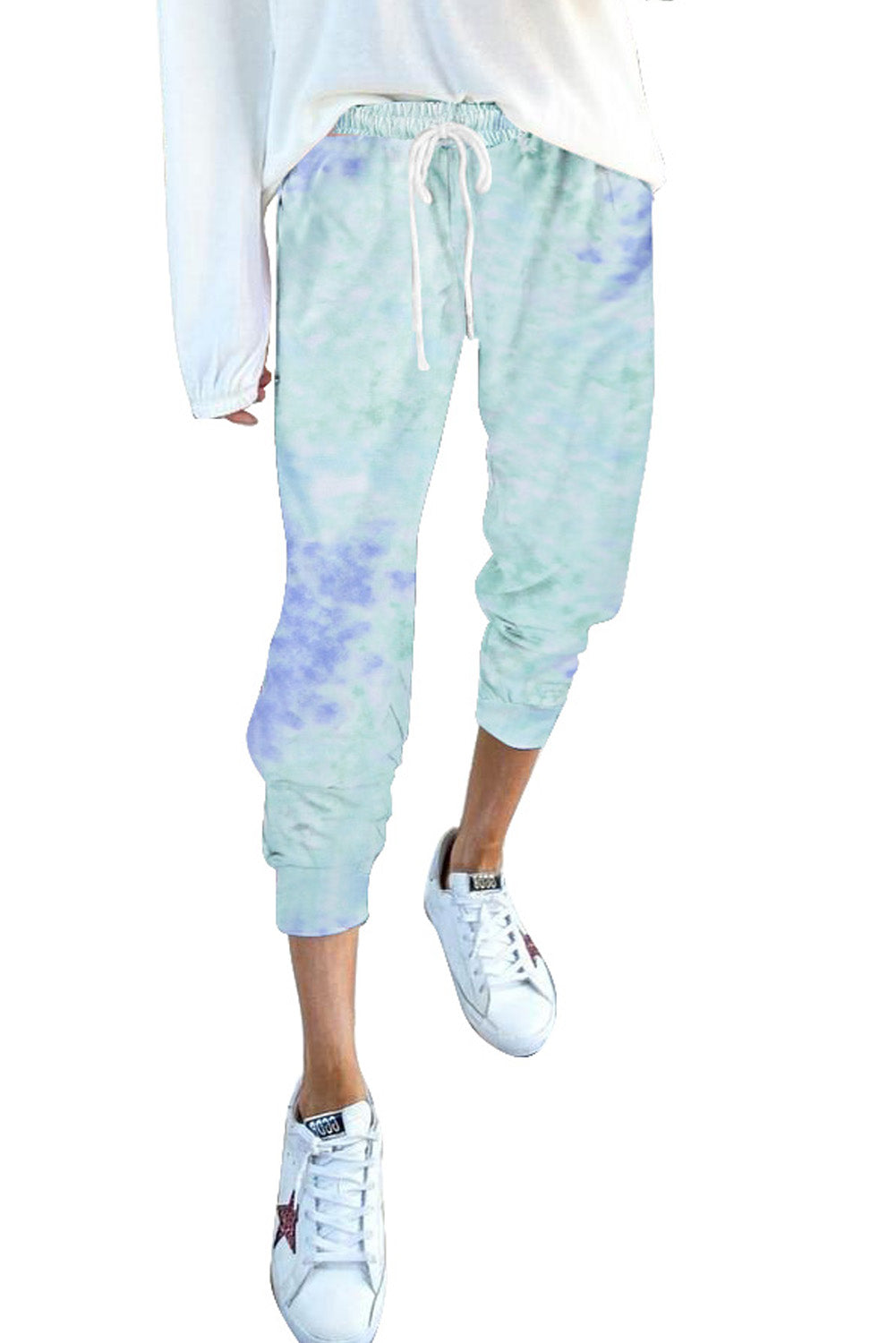 Sky Blue Drawstring Tie Dye Jogger Pants & Culotte Discount Designer Fashion Clothes Shoes Bags Women Men Kids Children Black Owned Business