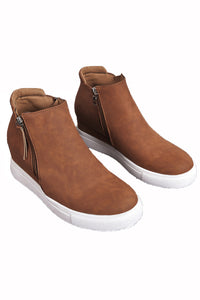 Brown Wedges Platform Vulcanize Shoes - JT's Designer Fashion