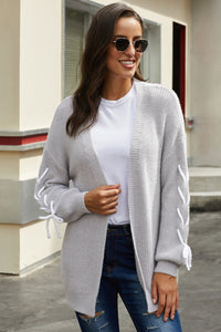 Gray Soft Long Sleeve Cardigan with Stitch Detail
