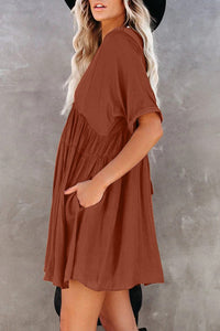 Brown Kimono Sleeve V-neck Babydoll Tiered Mini Dress